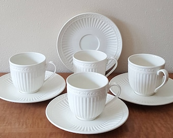 Mikasa Italian Countryside Cup and Saucers set of 4 Off White Light Weight Stoneware Made in Malaysia