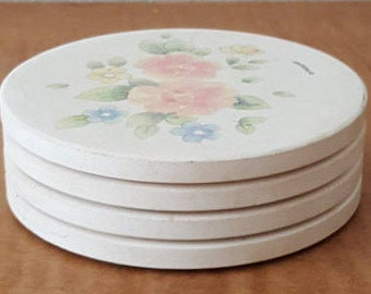Pfaltzgraff Tea Rose Coaster Set of 4 Tea Rose Coasters with Cork Backing Made in the USA