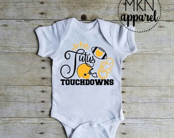 Tutus & Touchdowns Bodysuit, Baby Football Shirt, Tuchdown Bodysuit, Football Onesie