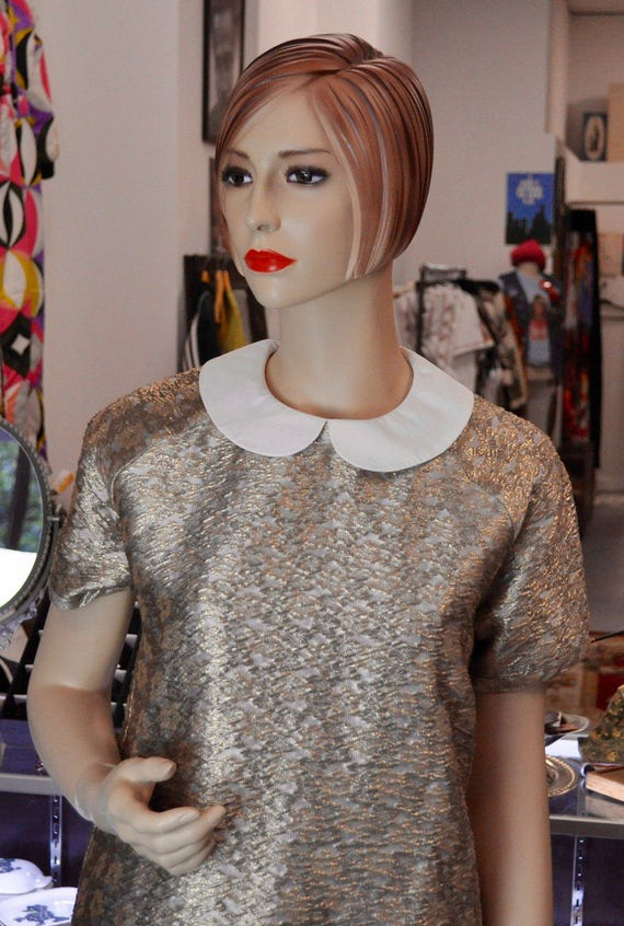 Beautiful Gold and White Brocade Two Piece Pant Set with Peter Pan Collar