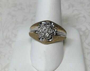 Vintage 14K Two-Tone Yellow and White Gold Men's Round Diamond Cluster Ring