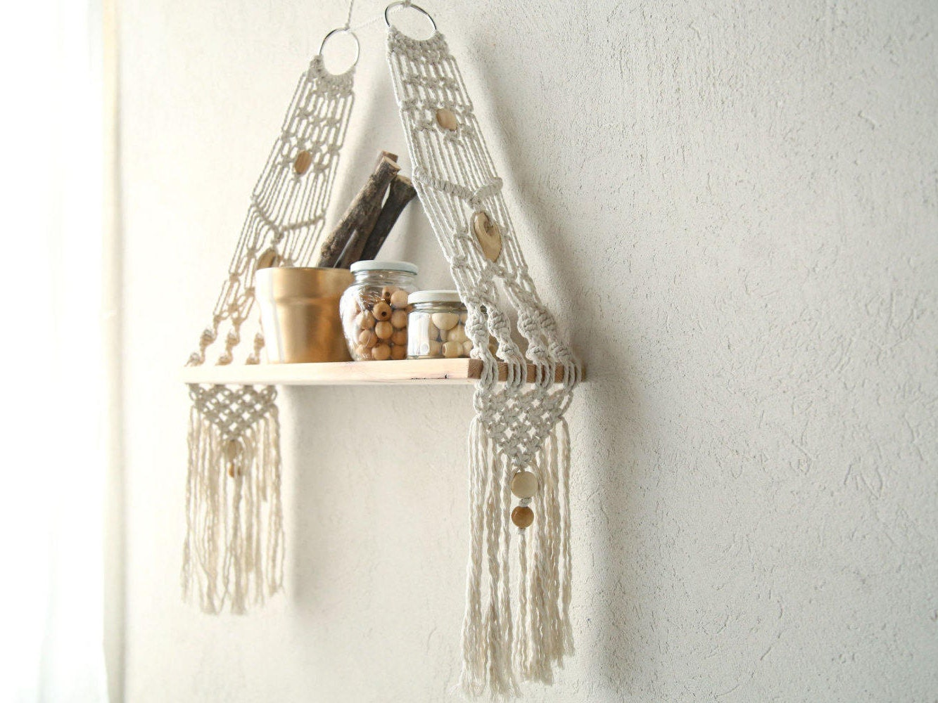 Macrame wall hanging shelf shelf modern macrame macrame for Wall hanging