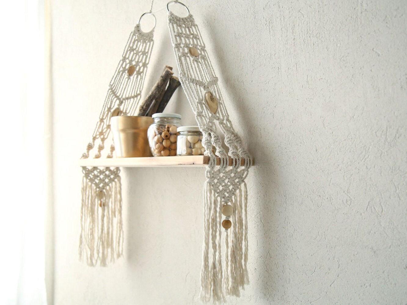 Macrame Wall Hanging Shelf Shelf Modern Macrame Macrame Shelf Boho Hanging Shelf