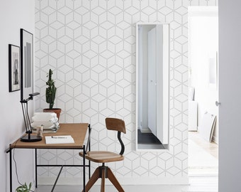 Grey geometric cubes wallpaper, dots, subtle and elegant wall mural, self adhesive, reusable, removable, peel and stick #85