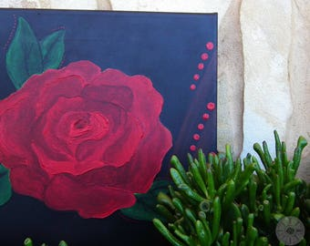 Hand-painted canvas, red rose