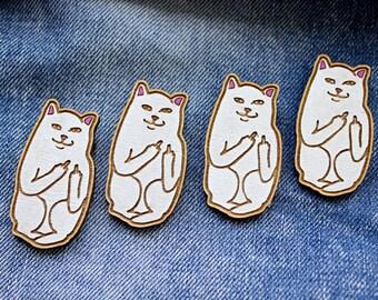 Kawaii Fuck you cat Wooden Pin Badge, Laser Cut Birch Wood, Wooden Brooch (1x piece)