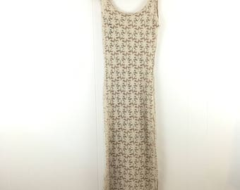 Vintage '80's '90's Ivory Lace Grunge Festival Maxi Dress XS S