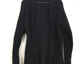 Vintage 90's Grunge Black Long Cardigan Sweater S M