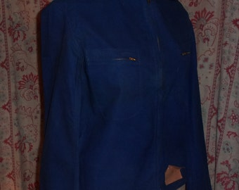 A vintage, blue jacket, craft, countryside,