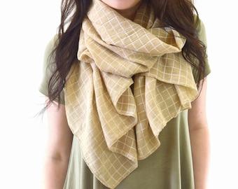 Plaid Scarf, Woman Summer Scarf, Plaid Cotton Scarf, Shawl Wrap, Gift