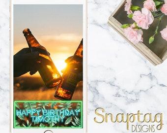 Custom Snapchat Geofiler || neon tropical birthday, birthday filter, neon sign, tropical leaves, lets get tropical, palm leaves, neon