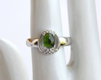 Natural Green Tourmaline & White Topaz Ring. Tourmaline oval Gemstone Ring. October Birthstone. Fashion Stylish Sterling Silver Ring for her