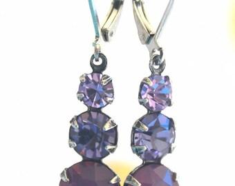 Vintage Triple Pink and Purple Swarovski Crystal Dangle Earings Drops