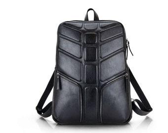 Mens Black backpack   Large Leather Backpack Black   Black Leather Laptop Backpack Rucksack Spine Back Chaine   Mens leather backpack
