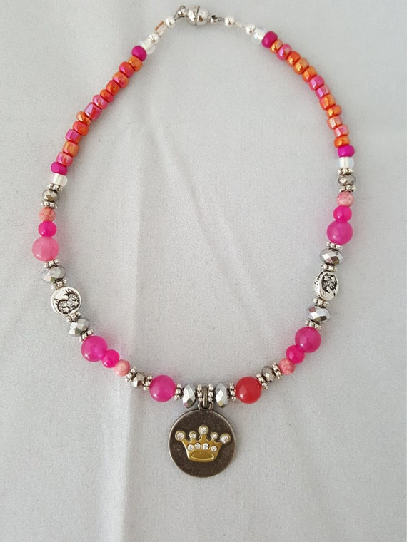 Beaded princess pink cat dog pet collar