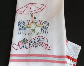 French Cafe Embroidered Tea Towel, Hand Embroidered Kitchen Towel, Cafe  Kitchen Decor, Bistro