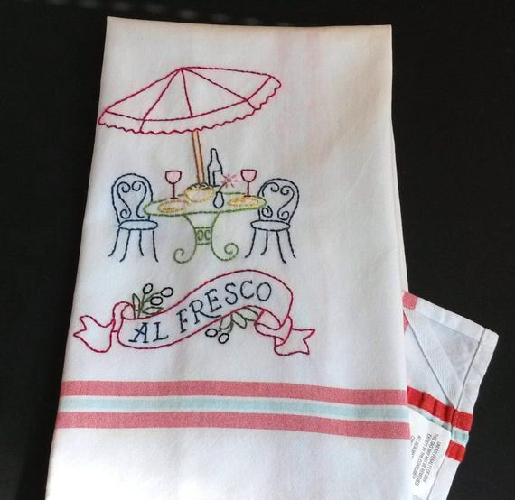 French Cafe Embroidered Tea Towel Hand Embroidered Kitchen