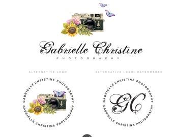Photography watermark, Camera logo, Logo design, Branding package, Photography logo, Branding kit, flower logo,Premade logo, Watercolor 55
