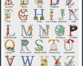 Seaside Alphapbet cross stitch pattern - digital download  - new baby - nursery - sea - nautical