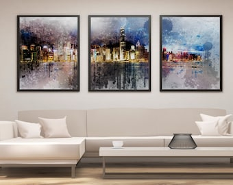 Hong Kong Print Set, Hong Kong Skyline Art, Panel Art, Panel Wall Art, Wall Decor, Large Wall Art, Gift Idea, Cityscape, Skyline Print