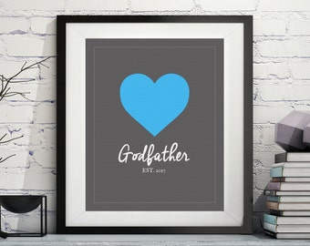 Godfather Art Print, Godfather Gift, Will You be my Godfather, Godparent Gift, Baptism Gift for Godfather, Baptism Gift for Godparents