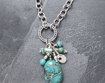 Natural turquoise charm necklace