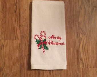 Merry Christmas candy canes embroidered on Hand towel