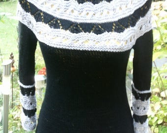 Knitting sweaters with Raglan, black/light grey, size 36-38 (S-m)