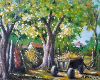 In the courtyard - original oil painting