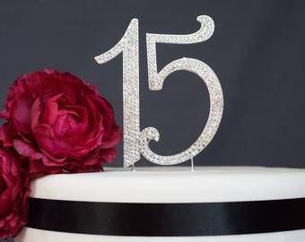 15 Quinceanera Rhinestone Cake Topper Premium Crystal Rhinestones - Monogram Number fifteen - 15th Birthday or Anniversary Party - Keepsake