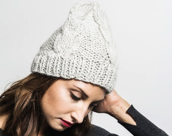 Double cable beanie hand knitted from the finest mix of alpaca and wool yarn in light grey