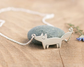 Silver Fox Necklace - Fox pendant - Silver Fox Charm - Fox Necklace - Gift for women