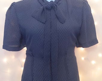 Large Vintage Short Sleeve Navy Polka Dot Blouse with Accent Bow - Vintage Button Down Blouse