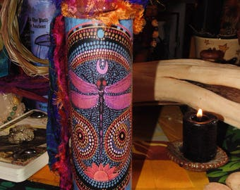 Ritual Candle, Spell Candle, Dragonfly Totem Candle, Altar Candle, Dragonfly Spirit Guide, Dragonfly, 7 Day Candle
