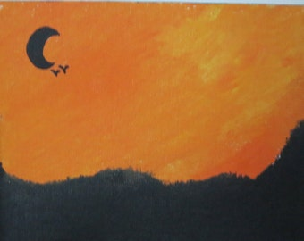 """5"""" x 7"""" Moon Shadow Painting By Leah"""
