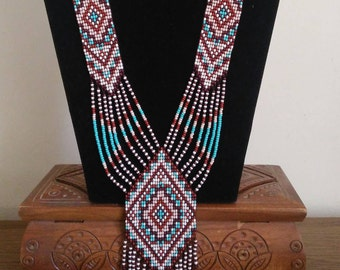 Gerdan/Turquoise bead Necklace/indian beadwork/Ukrainian gerdan/ ukrainian necklace/long turquoise necklace/Turquoise gerdan