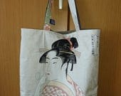 Japanese Tote Bag – Utamaro Ukiyo-e Prints, Traditional Design – Lady in Kimono and Kabuki Actor