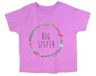 "Funny Girls Sping Summer Colors Onesie Newborn & Toddler T-Shirt ""Big Sister"" Adorale gift for big sis Funny Tshirt 5020"