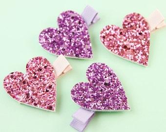 Set of Glitter Heart Hair Clips | Sparkly Hair Clip Set | Pink and Purple Glitter Heart Hair Clips | Glitter Heart Hair Clip Set
