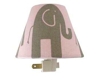 Elephant Night Light - Baby Girl Pink  Nursery Decor -Pink Gray Bella -Nursery Room-Wall Decor-Safari