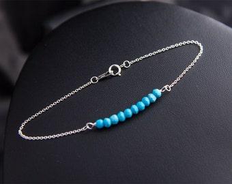Turquoise Bracelet, Real Turquoise Sterling Silver Bracelet, Real Turquoise Jewelry, Gifts for Women, Turquoise Bracelet December Birthstone