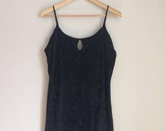 Velvet slip top, 90s, loose fit, keyhole, spaghetti straps, L, *vintage*