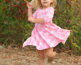 Unicorn Dress - Twirl Dress - Long sleeve dress for Girls - Back to School Dress - Girls fall dress - Toddler Dress  - Soft Knit Dress