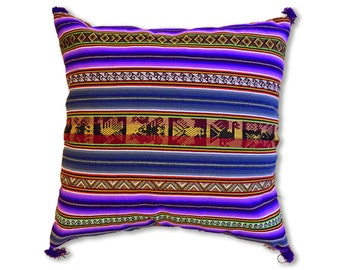 Peruvian handcrafted pillow cover, 18x18 inches, Peruvian Wool Pillow, Hand Embroidered Pillow Cover, Wool Tapestry, Free Shipping