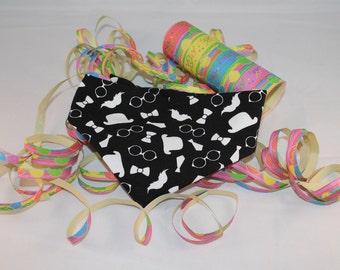 Handmade Mustache/Gentleman dog Bandana. Perfect accessory for your dogs. Black and white dog Bandana.