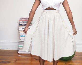 Vintage minimalist wool-blend midi skirt | S