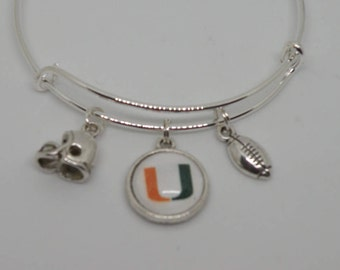 University of Miami Football team bangle bracelet with 3 top quality charms.