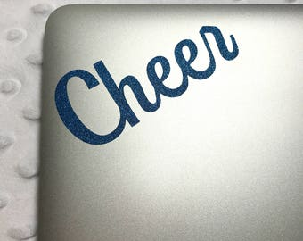 Cheer Decal for MacBooks and Laptops | Cheerleading Decals | Sparkly and Non-Sparkly Decals