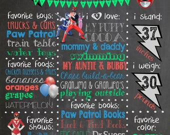 Power Rangers birthday party chalkboard poster decoration, Power Rangers birthday party ideas.