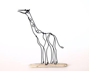 Baby Giraffe wire sculpture. Wildlife art. Rustic home decor. Modern art. Contemporary decor. Animal sculpture. Nursery decor.